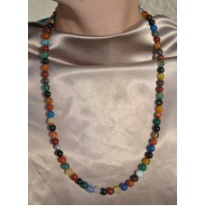 Večbarvni karneol ogrlica