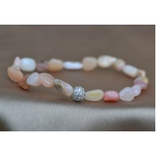 Opal roza raztegljiva zapestnica