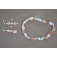 Opal roza komplet raztegljiva zapestnica in srebrni uhani