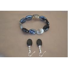 Komplet: raztegljiva zapestnica in srebrni uhani