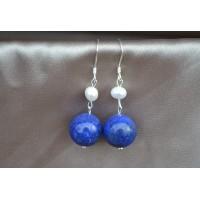 Lapis lazuli in biser srebrni uhani