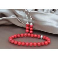 Rdeča korala komplet raztegljiva zapestnica in srebrni uhani