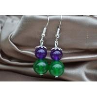 Zeleni in vijolični žad srebrni uhani