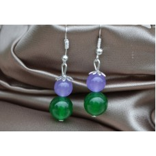 Zeleni in svetlo vijolični žad srebrni uhani