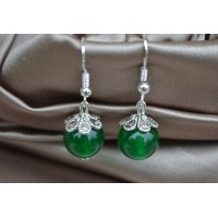 Zeleni žad srebrni uhani