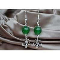 Zeleni žad srebrni uhani z obeskom