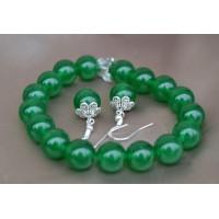Zeleni žad komplet raztegljiva zapestnica in srebrni uhani