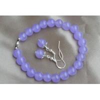Svetlo vijolični žad komplet raztegljiva zapestnica in srebrni uhani