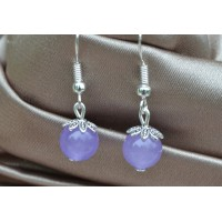 Svetlo vijolični žad srebrni uhani