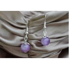 Vijolični ahat srebrni uhani