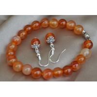 Karneol oranžni komplet raztegljiva zapestnica in srebrni uhani