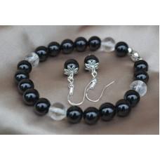 Črni oniks in kamena strela komplet raztegljiva zapestnica in srebrni uhani