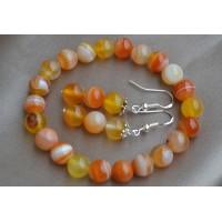 Oranžni ahat komplet raztegljiva zapestnica in srebrni uhani