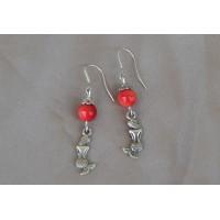 """Rdeča korala """"Mermaid"""" srebrni uhani"""